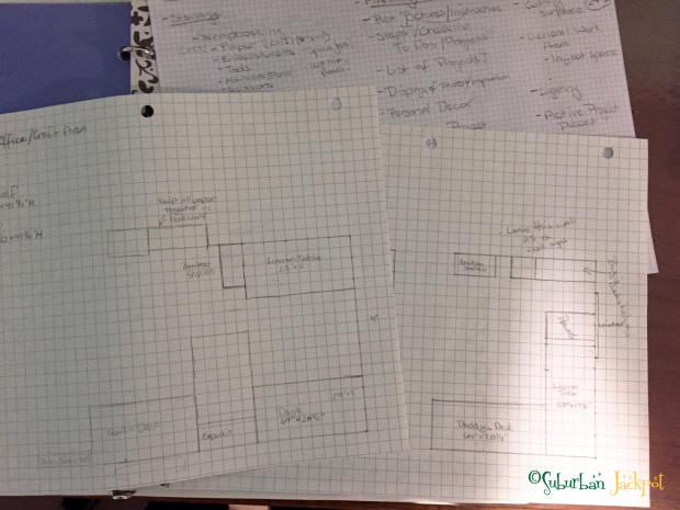 Room layout drawn on graph paper.