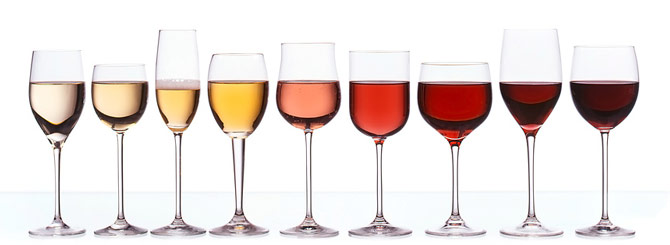 red and white Wine glass rainbow