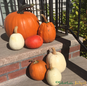 Pumpkins on front porch.