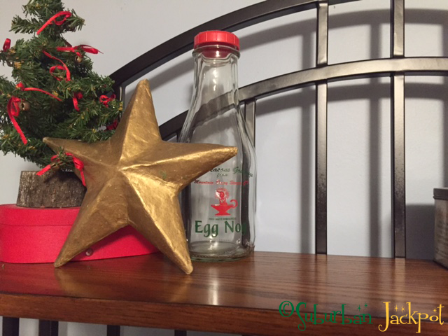 gold Christmas star tree Egg Nog bottle