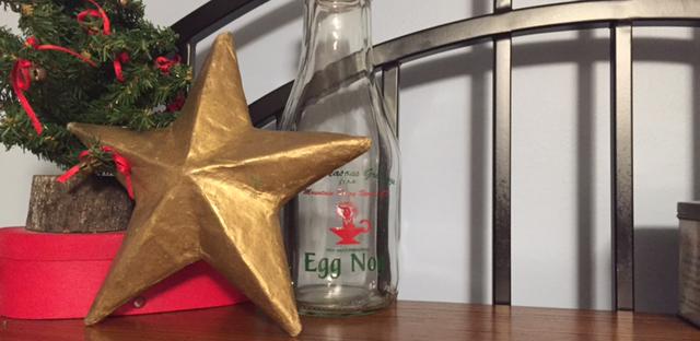 gold Christmas star tree Egg Nog bottle
