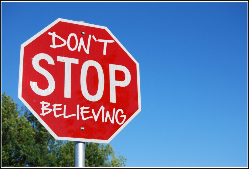 don't stop believing stop sign