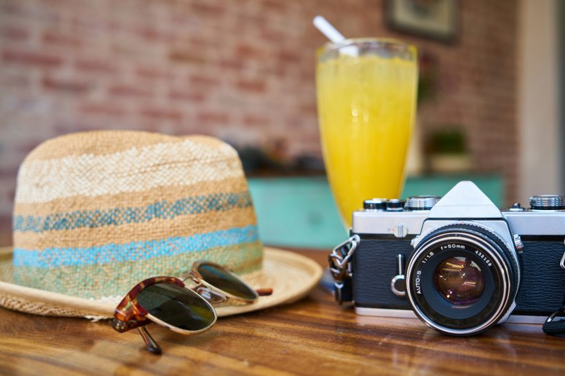 Vacatio hat mimosa camera sunglasses brunch summer spring