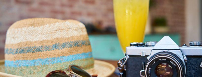 Vacatio hat mimosa camera sunglasses brunch summer spring