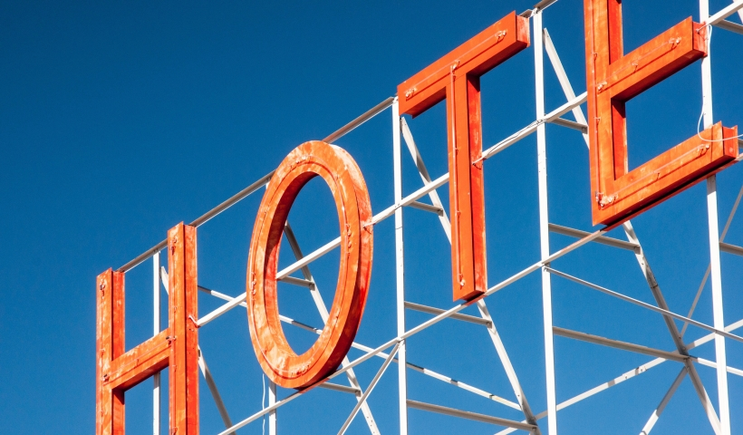 Hotel old neon sign