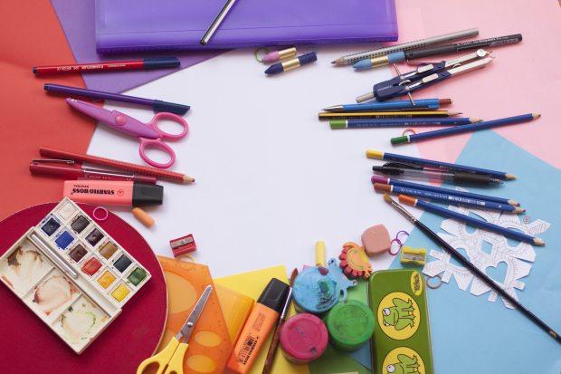 Art supplies colored pencils paint