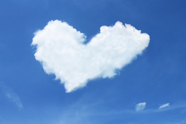 love heart cloud blue sky
