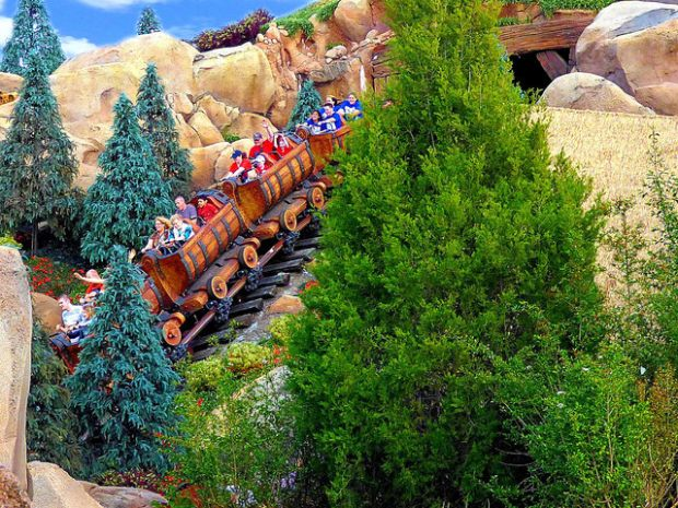Seven drawfs Mine Train Walt Disney World rides roller coaster