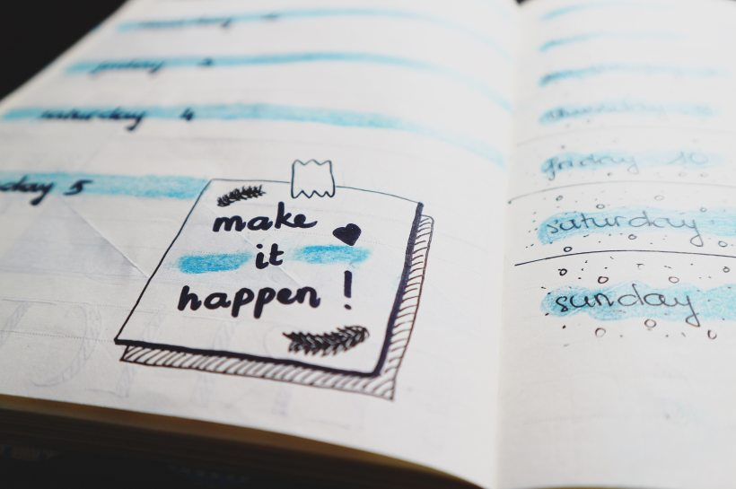 Bullet journal make it happen calendar schedule motivation