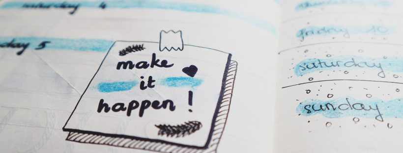 Bullet journal make it happen calendar schedule motivation