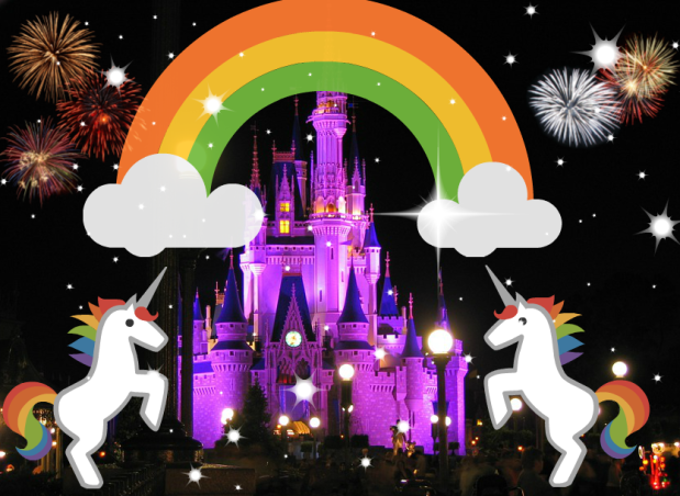 Unicorn rainbow fireworks sparkle star castle Disneyland