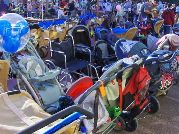 stroller parking Disney World Disneyland