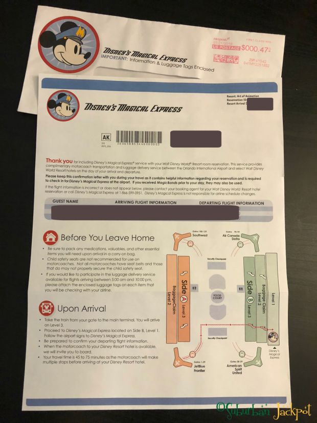 Disney World Magical Express Itinerary notification instructions transportation