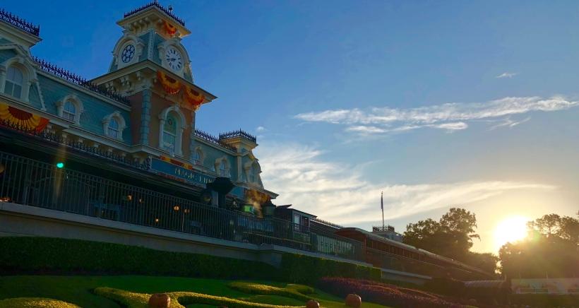 Sunrise Walt Disney World Magic Kingdom Railroad Main Gate
