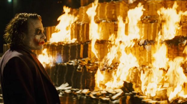 Joker burning money Batman Dark Knight